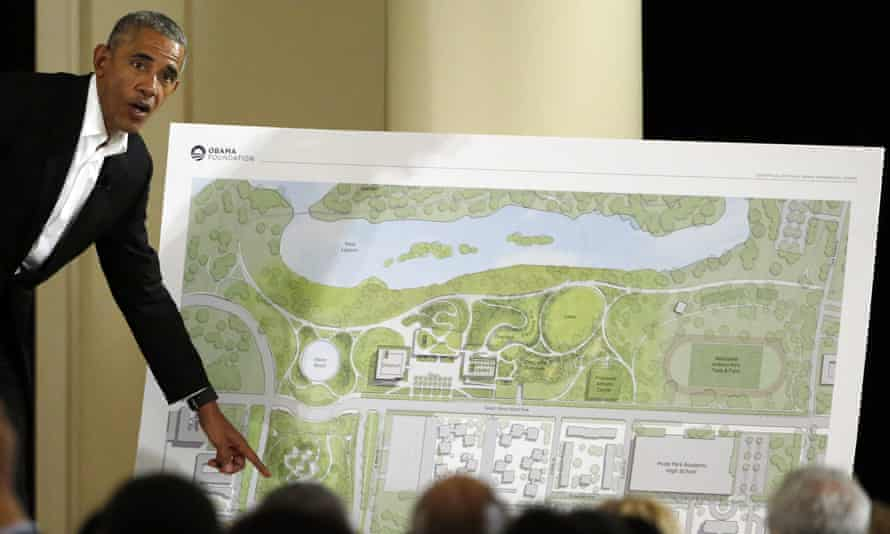 Barack Obama with an outline of the plans for the presidential center in 2017. Over the last six years, the Obama Foundation and the city of Chicago have courted scrutiny over the proposals.