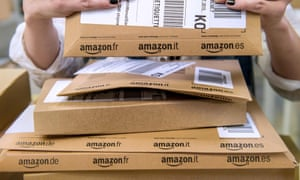 Amazon parcels being prepared for delivery
