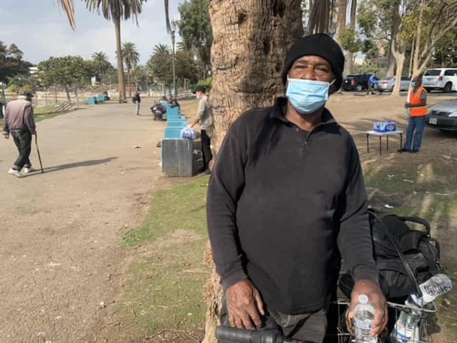 Lesly Lynch, 70, an unhoused resident, was spending time at MacArthur Park in Los Angeles.