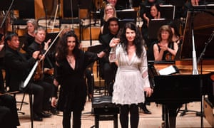 Pianists Katia and Marielle Labèque at the BBC Total Immersion musical salute to Philip Glass.