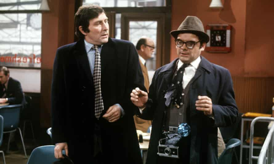 Mark Eden, left, with David Jason in the comedy series The Top Secret Life of Edgar Briggs, 1974.
