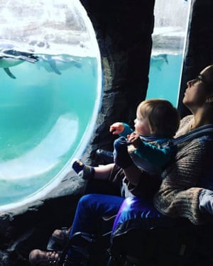 Nadia Clarke and her godson Ned on a visit to a sea life centre.