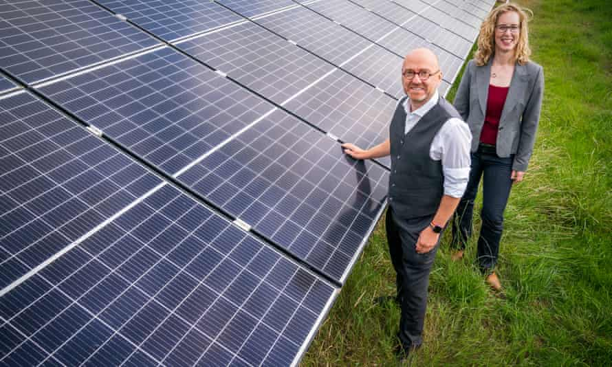 The Scottish Green party's co-leaders, Patrick Harvie and Lorna Slater, visiting the site of a new solar farm at the University of Edinburgh Easter Bush campus