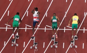 Reece Prescod of Great Britain (second left) during a false start.