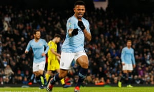 Gabriel Jesus celebrates scoring the third of his four goals against Burton on a remarkable night for him and Manchester City.
