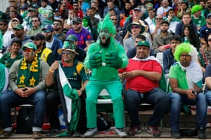 A fan cheers on Pakistan as they play England at Trent Bridge.