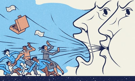 Illustration, of two big heads blowing back women and people of colour to past, by Matt Kenyon