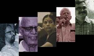 From left: Rona Wilson, Stan Swamy, Sudha Bhardwaj, Varavara Rao and Anand Teltumbde. AFP/Getty; Guardian Design