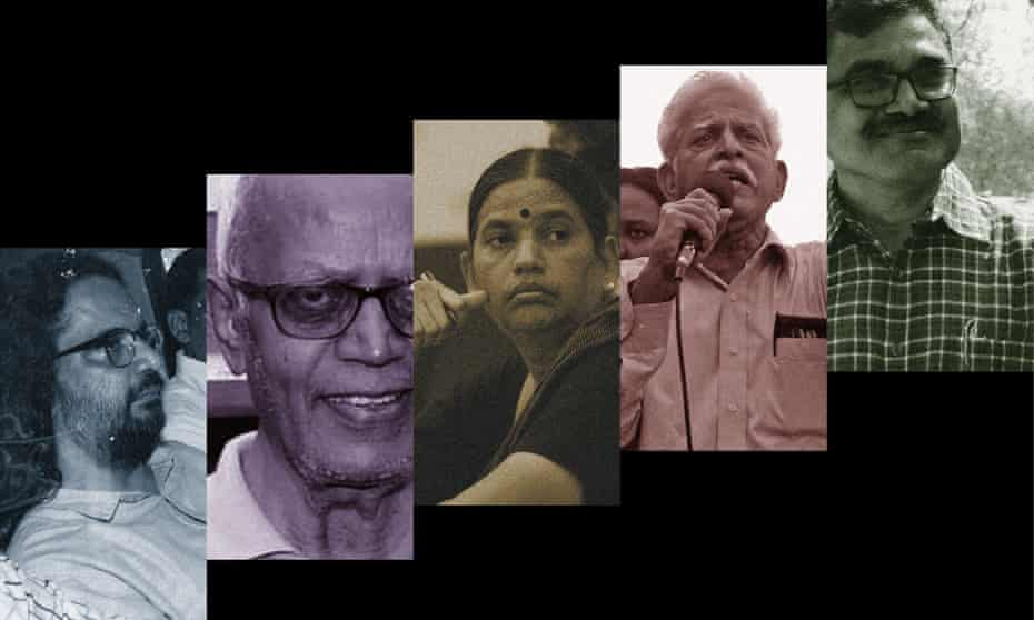 From left: Rona Wilson, Stan Swamy, Sudha Bhardwaj, Varavara Rao and Anand Teltumbde.