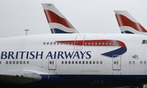 British Airways planes parked at Heathrow Airport in London.