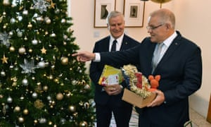 Deputy prime minister Michael McCormack (left) and PM Scott Morrison attend the Christmas wishing tree launch at Parliament House.