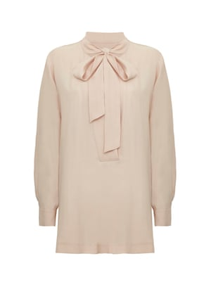 Pale pink bow blouse