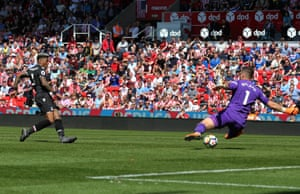 Patrick van Aanholt slams the ball under Jack Butland.