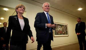 Turnbull emerged from the part room all smiles alongside deputy Julie Bishop.