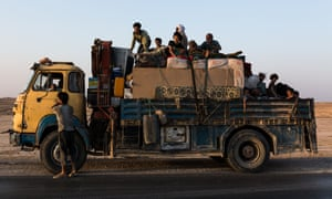 A truck carrying civilians who fled the fighting in Raqqa, seen on the road leading to the Ain Issa IDP camp.