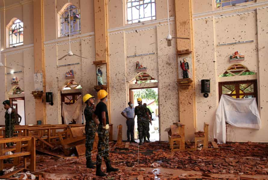 A view of the damage at St Sebastian's church in Negombo.
