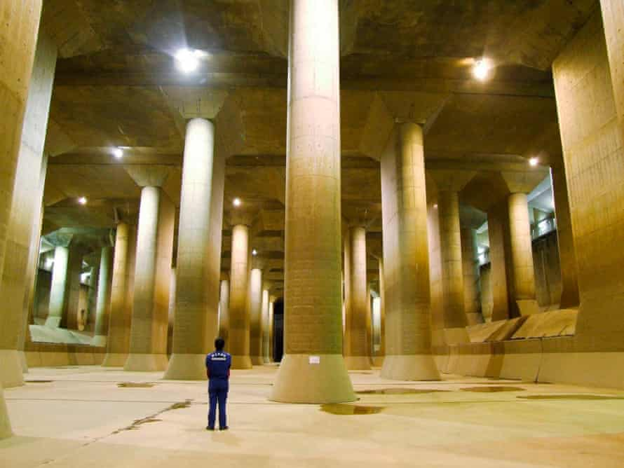 The pressure-controlled water tank at the Metropolitan Area Outer Underground Discharge Channel in Kusakabe, Japan.