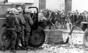 In the streets during Bloody Sunday.