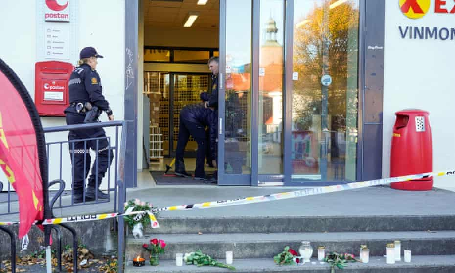 Police officers carry out investigations in Kongsberg