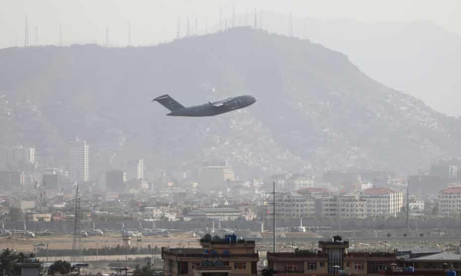 Military plane takes off