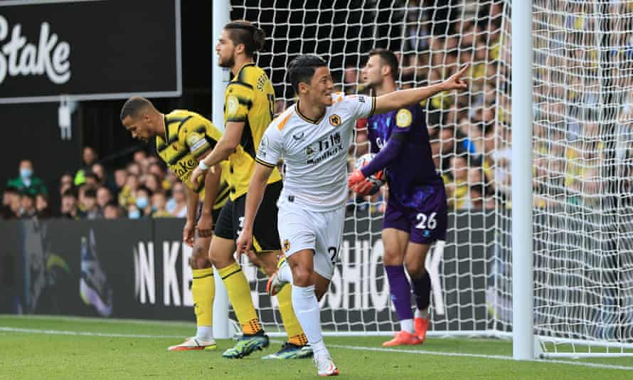 Hwang Hee-chan celebrates scoring the second goal for Wolves at Watford