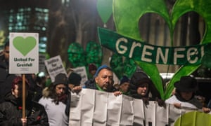 Supporters of Grenfell victims at a silent march in North Kensington, London