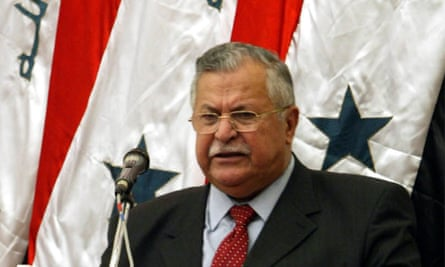 Jalal Talabani speaking at a national assembly meeting in Baghdad, Iraq, in 2005, shortly after taking on the presidency.