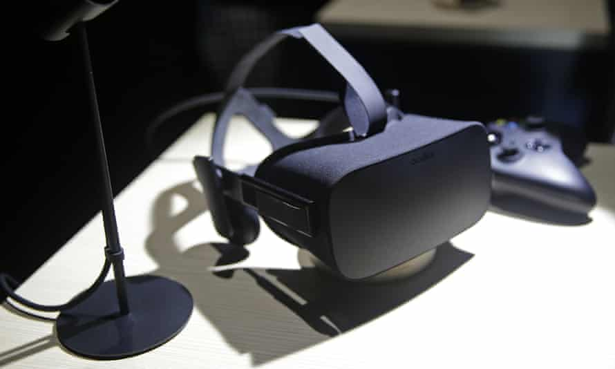 A virtual reality headset. Patients are shown computer-generated images of naked children and measured for signs of arousal.