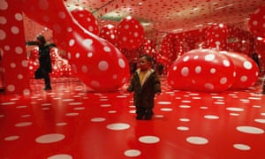 Visitors at Kusama's Kusamatrix exhibition in Tokyo, 2004.