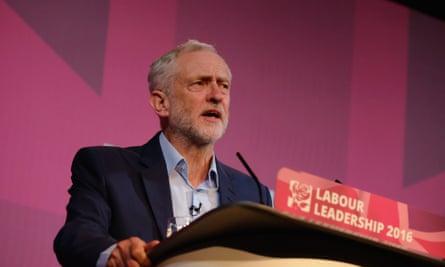 Jeremy Corbyn  taking part in a Labour leadership debate