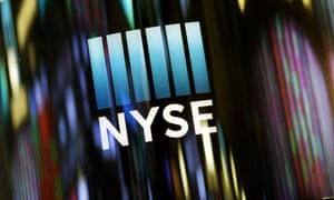 The NYSE logo is displayed at the New York Stock Exchange.