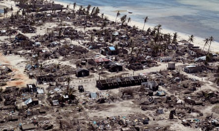 Aftermath of the damage left by Cyclone Kenneth in a village north of Pemba, Mozambique in May 2019
