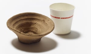 The cup, shown here next to a modern throwaway container, was made by the Minoans.