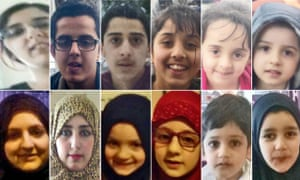 Composite showing 12 members of the Dawood family who travelled from Bradford to Saudi Arabia on 28 May 2015 for an Islamic pilgrimage.