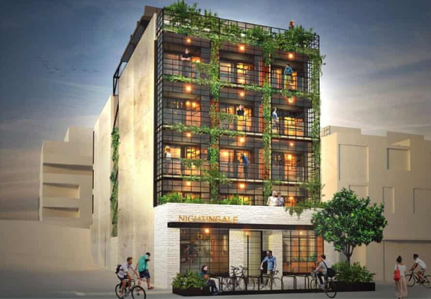 An artist's impression of the Nightingale apartments in Melbourne, due to be completed next year.