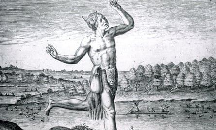 The Noble Savage: a 16th-century engraving based on a drawing by John White.