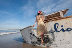 A photo showing clothing by Marina DeBris, who creates on from debris which has washed up on the beach. Her work is on show at Festival of the Winds in Bondi, Sydney, Australia in September 2016.