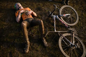 Shrewsbury, EnglandA rider recovers after competing in the British Cycling National Cyclo-Cross Championships.