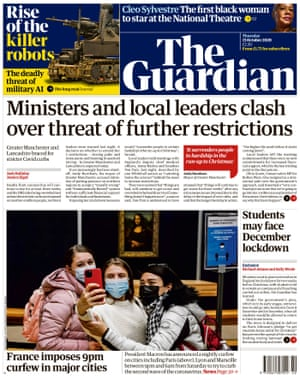 Guardian front page, Thursday 15 October 2020