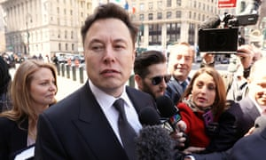 Tesla CEO Elon Musk arrives at federal court for a in New York City on 4 April.