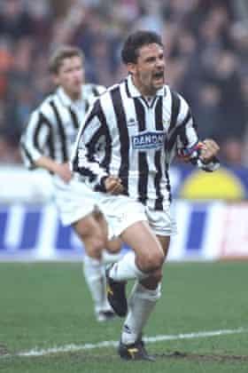 Roberto Baggio celebrates after scoring for Juventus against Borussia Dortmund in the Uefa Cup semi-finals.