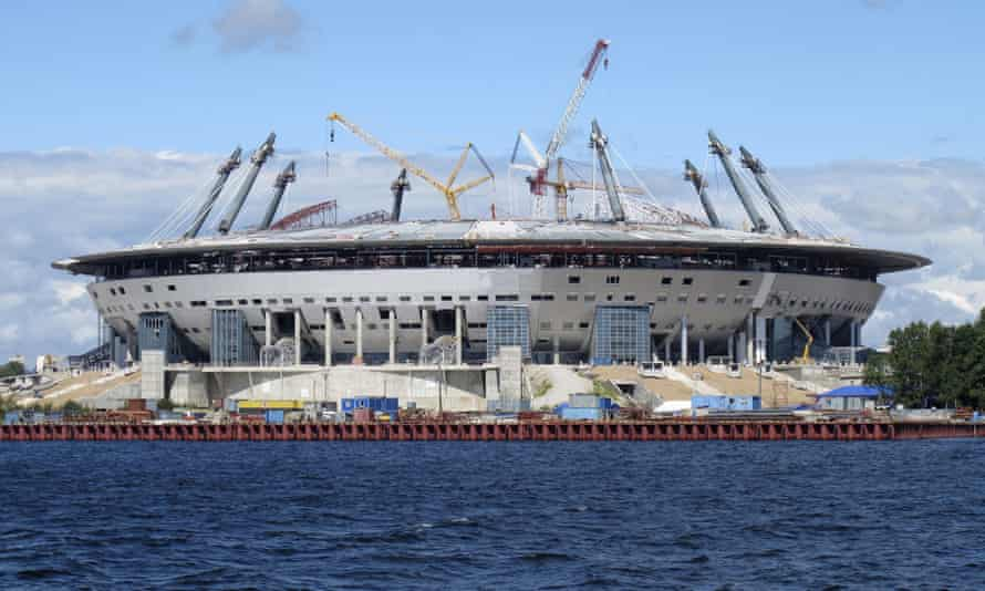 The Zenit Arena under construction in July 2015.