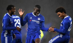 Willian celebrates scoring Chelsea's third goal with Kurt Zouma and Michy Batshuayi beating Peterborough United 4-1 at Stamford Bridge