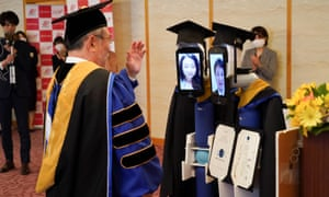 Robots replace graduate students at a ceremony in Tokyo.