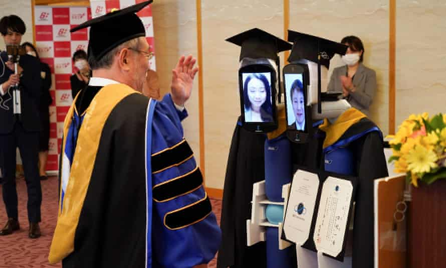 Robots replace graduating students at a ceremony in Tokyo.