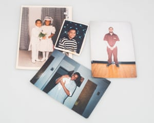 Photographs of Jeff throughout his life belonging to Rachel. Jeff is Rachel's grandson but she raised him in her apartment. He calls her mom