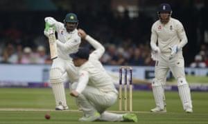 Pakistan's Haris Sohail hits 4 runs off the bowling of England's Dom Bess.