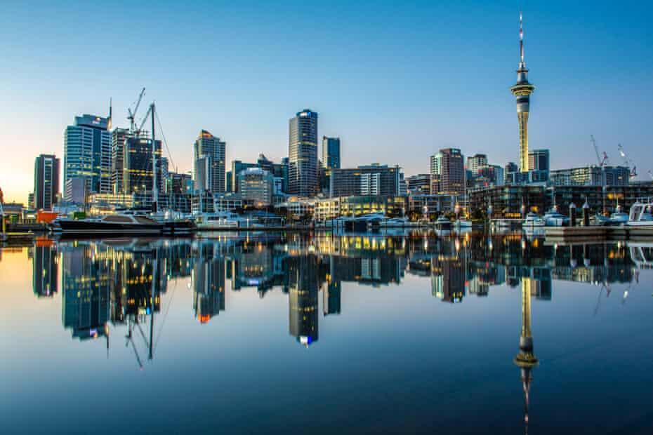 Auckland's skyline reflected in Waitematā Harbour