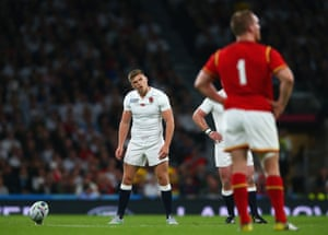 Owen Farrell of England lines up a penalty.