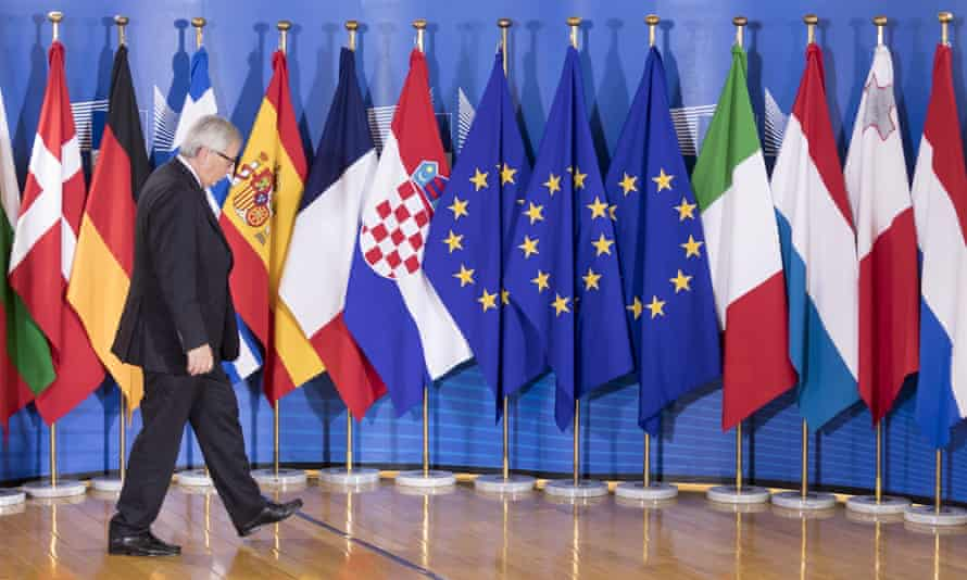 The president of the European commission, Jean- Claude Juncker, before an informal working meeting on migration and asylum issues.